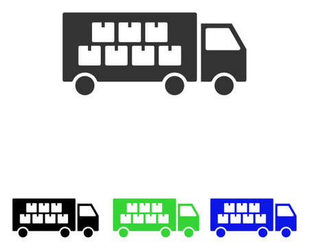delivery truck: Goods Transportation Truck vector pictogram. Illustration style is a flat iconic colored symbol with different color versions.