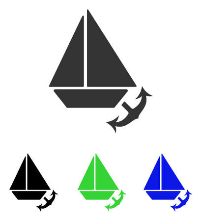 Seaport vector pictogram. Illustration style is a flat iconic colored symbol with different color versions. Illustration