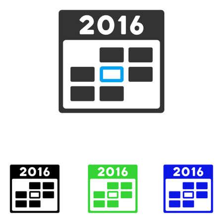 2016 calendario día pictograma de vectores. El estilo de ilustración es un símbolo icónico de color plano con diferentes versiones de color. Ilustración de vector