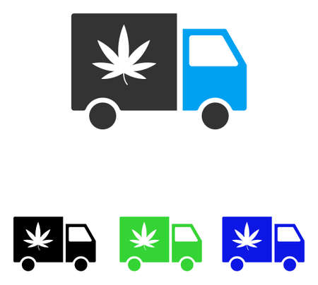 Cannabis Delivery Van vector pictogram. Illustration style is a flat iconic colored symbol with different color versions.