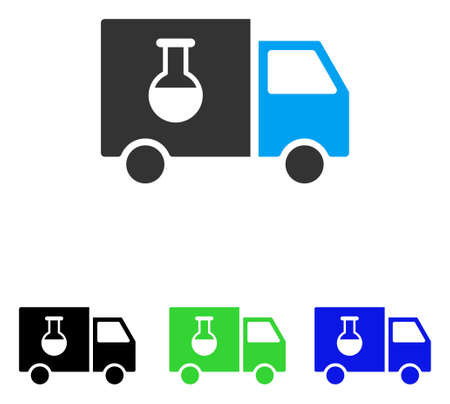 delivery truck: Chemical Delivery Truck vector icon. Illustration style is a flat iconic colored symbol with different color versions. Illustration