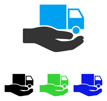 delivery truck: Van Delivery Service Hand vector pictograph. Illustration style is a flat iconic colored symbol with different color versions.