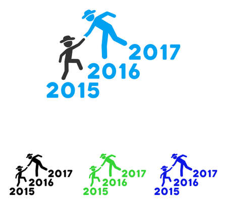 lift up: Years Guys Help vector pictogram. Illustration style is a flat iconic colored symbol with different color versions.