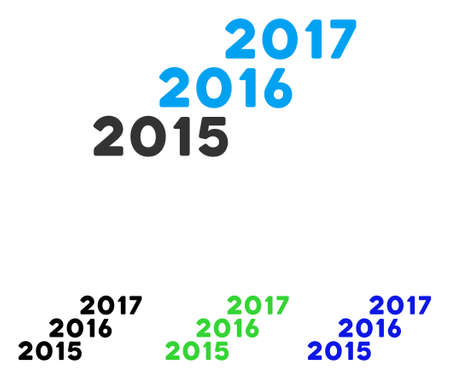 From 2016 To 2017 Years vector pictogram. Illustration style is a flat iconic colored symbol with different color versions. Illustration