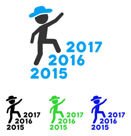 Gentleman Steps Years vector icon. Illustration style is a flat iconic colored symbol with different color versions.