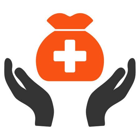 Medical Fund Care Hands raster pictograph. Style is flat graphic symbol. Stock Photo
