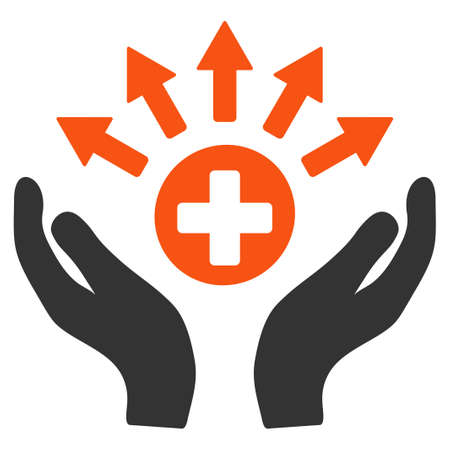 new addition: Medical Distribution Care Hands vector pictograph. Style is flat graphic symbol.