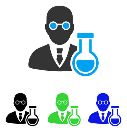 Chemist vector icon. Style is flat graphic chemist symbol using some color variants. Illustration