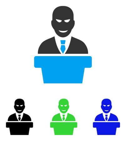 bureaucrat: Demagogue vector pictograph. Style is flat graphic demagogue symbol using some color variants.