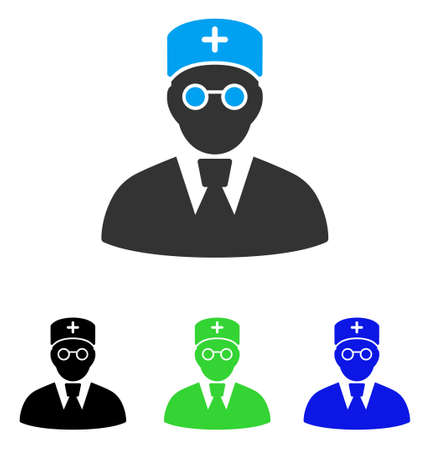 Doctor vector icon. Style is flat graphic doctor symbol using some color variants. Illustration