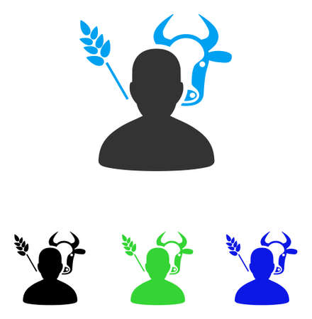 agronomist: Farmer vector icon. Style is flat graphic farmer symbol using some color variants. Illustration