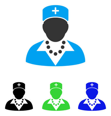 Nurse vector pictogram. Style is flat graphic nurse symbol using some color variants. Illustration
