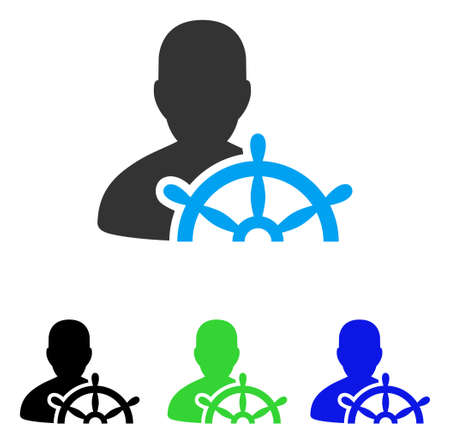 Ship Captain vector pictogram. Style is flat graphic ship captain symbol using some color variants.