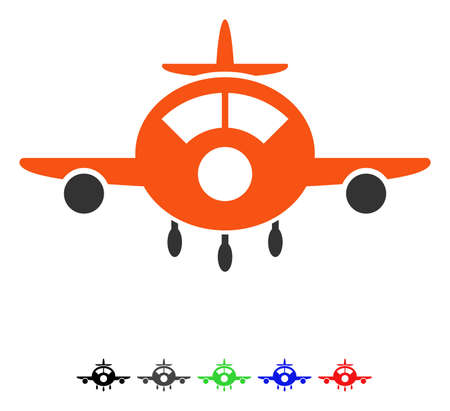 Aircraft flat vector pictogram with colored versions. Color aircraft icon variants with black, gray, green, blue, red. Illustration
