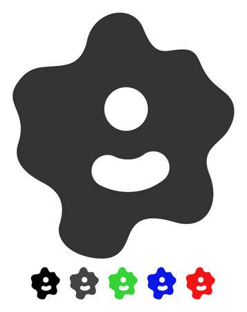 Icono de vector plano Ameba con versiones en color. Colorea las variantes del icono de ameba con negro, gris, verde, azul, rojo.