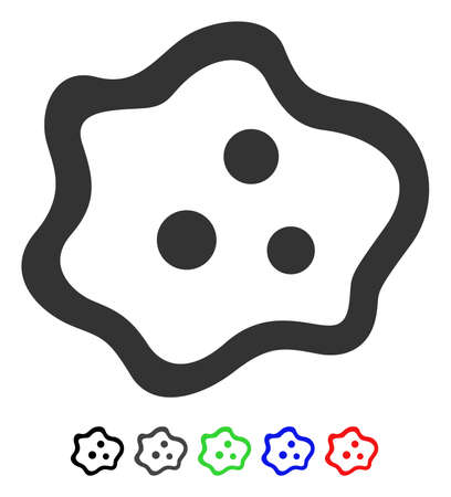 ameba: Amoeba flat vector icon with colored versions. Color amoeba icon variants with black, gray, green, blue, red.