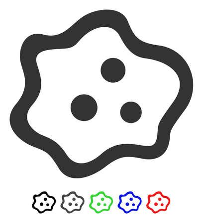 Icono de vector plano ameba con versiones de colores. Variantes de icono de ameba de color con negro, gris, verde, azul, rojo.