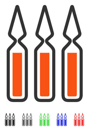Ampoules flat vector pictograph with colored versions. Color ampoules icon variants with black, gray, green, blue, red.