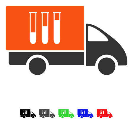Analysis Delivery flat vector pictogram with colored versions. Color analysis delivery icon variants with black, gray, green, blue, red.