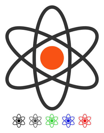 Atom flat vector pictograph with colored versions. Color atom icon variants with black, gray, green, blue, red.