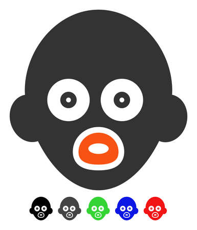 Baby Head flat vector pictogram with colored versions. Color baby head icon variants with black, gray, green, blue, red.