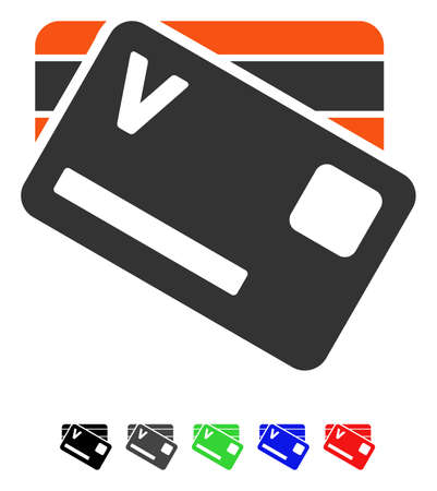 Banking Cards flat vector pictograph with colored versions. Color banking cards icon variants with black, gray, green, blue, red.