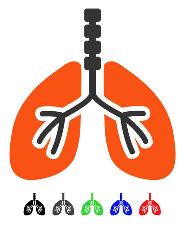 Breathe System flat vector pictogram with colored versions. Color breathe system icon variants with black, gray, green, blue, red.