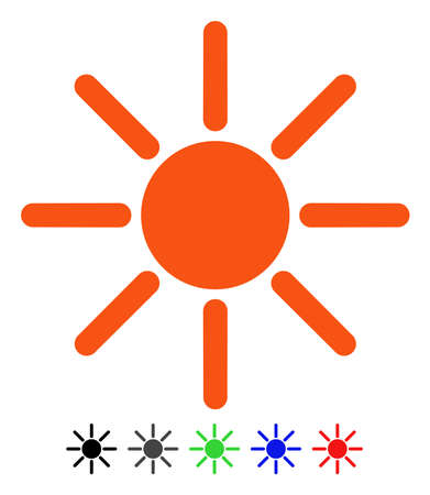Brightness flat vector pictograph with colored versions. Color brightness icon variants with black, gray, green, blue, red.