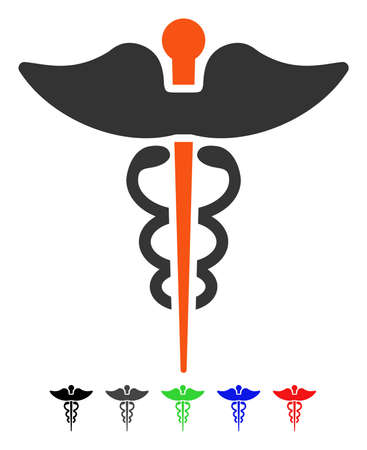 Caduceus flat vector illustration with colored versions. Color caduceus icon variants with black, gray, green, blue, red.