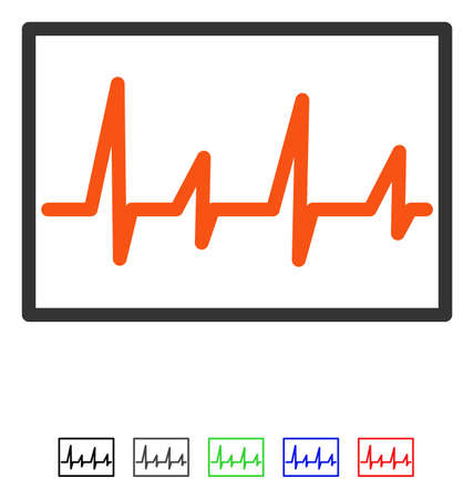Cardiogram flat vector icon with colored versions. Color cardiogram icon variants with black, gray, green, blue, red.