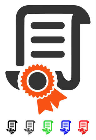 attest: Certified Scroll Document flat vector illustration with colored versions. Color certified scroll document icon variants with black, gray, green, blue, red.