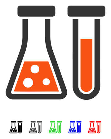 Chemistry flat vector pictograph with colored versions. Color chemistry icon variants with black, gray, green, blue, red.