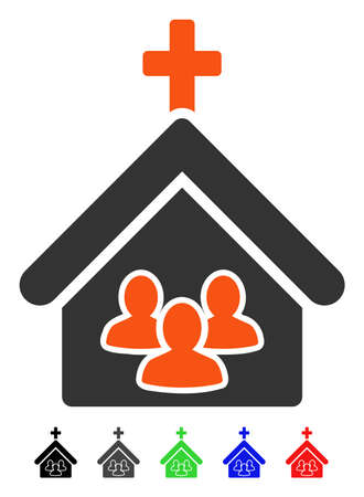 Church People flat vector pictograph with colored versions. Color church people icon variants with black, gray, green, blue, red.