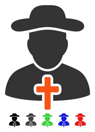 sotana: Clérigo pictograma vector plano con versiones de colores. Coloree las variantes del icono del clérigo con negro, gris, verde, azul, rojo.