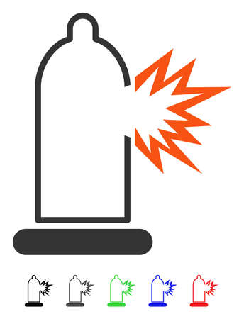 Condom Damage flat vector pictograph with colored versions. Color condom damage icon variants with black, gray, green, blue, red. Illustration