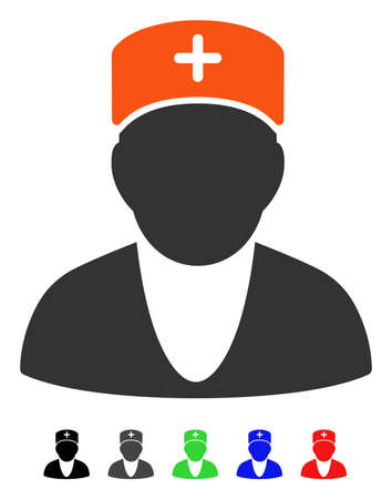 Doctor flat vector pictogram with colored versions. Color doctor icon variants with black, gray, green, blue, red.