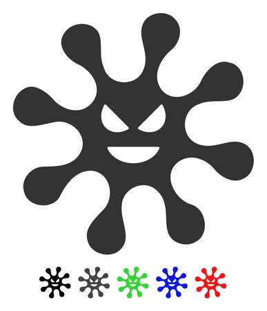 bacteria cell: Evil Bacteria flat vector icon with colored versions. Color evil bacteria icon variants with black, gray, green, blue, red. Illustration