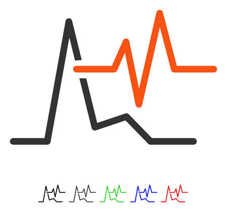 ECG flat vector pictograph with colored versions. Color ecg icon variants with black, gray, green, blue, red. Illustration