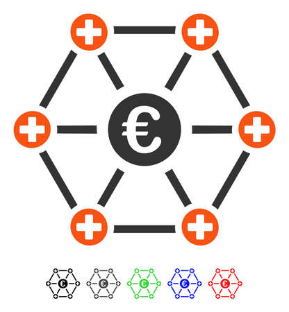 Euro Medical Network flat vector pictogram with colored versions. Color euro medical network icon variants with black, gray, green, blue, red. Illustration