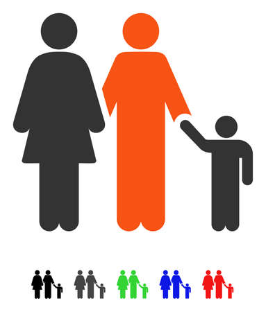 black family: Family flat vector pictogram with colored versions. Color family icon variants with black, gray, green, blue, red. Illustration