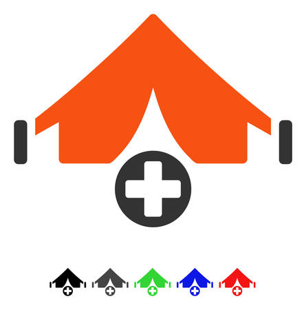 Field Hospital flat vector illustration with colored versions. Color field hospital icon variants with black, gray, green, blue, red. Çizim