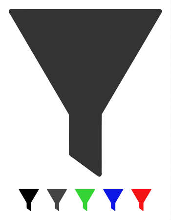 Filter flat vector pictogram with colored versions. Color filter icon variants with black, gray, green, blue, red.