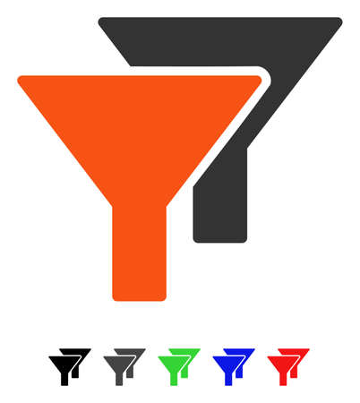 Filtert vlak vectorpictogram met gekleurde versies. Kleurenfilters pictogramvarianten met zwart, grijs, groen, blauw, rood.