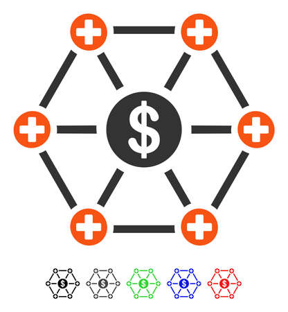 Financial Medical Network flat vector pictogram with colored versions. Color financial medical network icon variants with black, gray, green, blue, red.