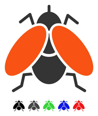 Fly flat vector pictograph with colored versions. Color fly icon variants with black, gray, green, blue, red. Illustration