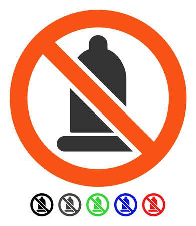 Verboden Condom platte vector pictogram met gekleurde versies. Kleur verboden condoomvarianten met zwart, grijs, groen, blauw, rood.