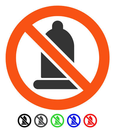 Prohibido Condón vector pictograma plano con versiones de color. Color prohibido condón icono variantes con negro, gris, verde, azul, rojo. Ilustración de vector