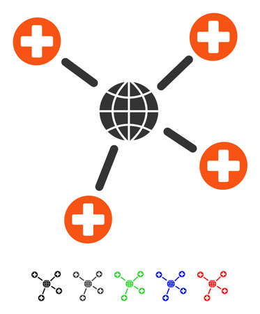 Global Medical Links flat vector pictograph with colored versions. Color global medical links icon variants with black, gray, green, blue, red.