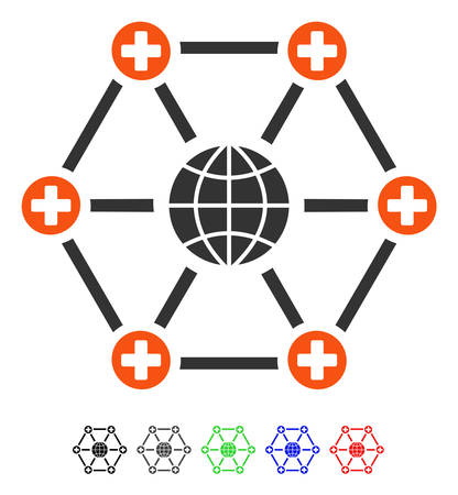 Global Medical Network flat vector icon with colored versions. Color global medical network icon variants with black, gray, green, blue, red.