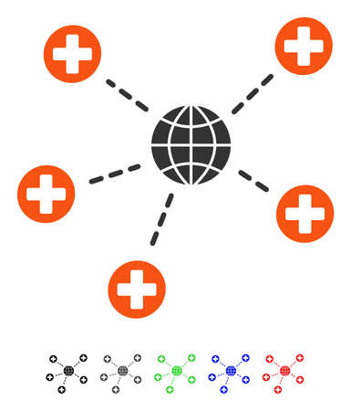 Global Medical Relations flat vector pictogram with colored versions. Color global medical relations icon variants with black, gray, green, blue, red.